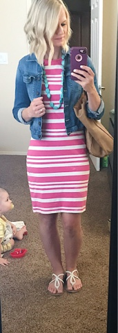 Thritty Wife, Happy Life- Daily outfits. Pink stripe dress with denim jacket