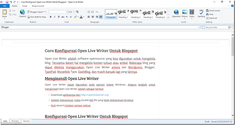 Menulis artikel blog Menggunakan Open Live Writer
