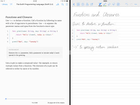 Screenshot of iBooks and goodnotes in splitscreen mode