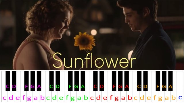 Sunflower (Sierra Burgess Is A Loser) ~ Piano Letter Notes