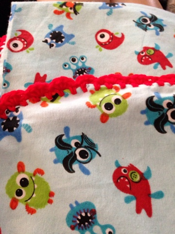 Jenn 39 s yarn addiction monster baby set for Monster themed fabric