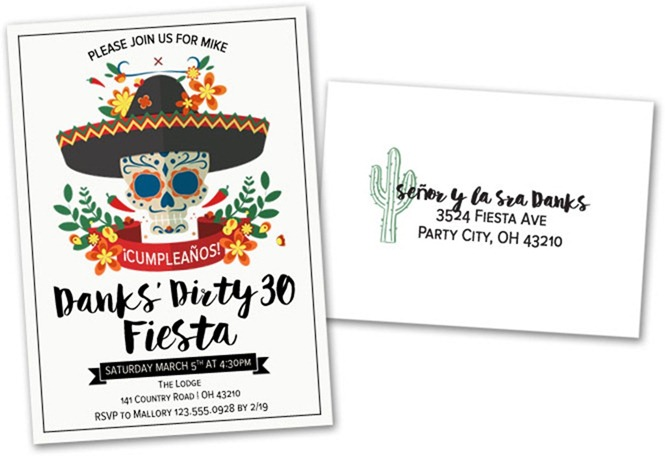 Dirty 30 Fiesta Invite and Envelope