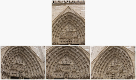 Images filles de l'image maîtresse ci-dessus, pour le portail du Couronnement de la Vierge de la façade occidentale de Notre-Dame de Paris