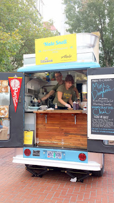 At Feast 2015 Brunch Village Nate Snell of Pip's Original Doughnuts brought his adorable little mobile cart to hand out Raw Honey & Sea Salt and Blackberry Lavender mini doughnuts along with Handcrafted Chai