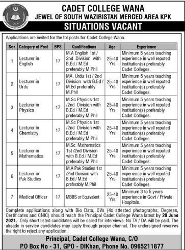 Cadet College WANA South Waziristan Jobs June 2021
