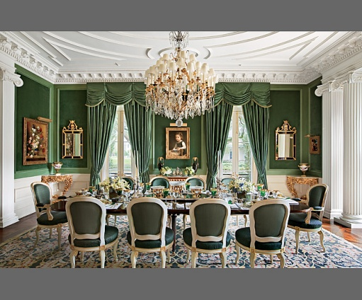 Alexa Hampton Went With Green Paint And Green Window Treatments To Make A  Strong Green Statement In This Dining Room