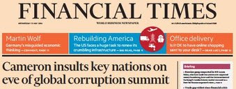 Financial times cover of David Cemeron calling Nigeria and Afghanistan fantastically corrupt