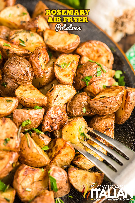 Rosemary Air Fryer Potatoes on a plate