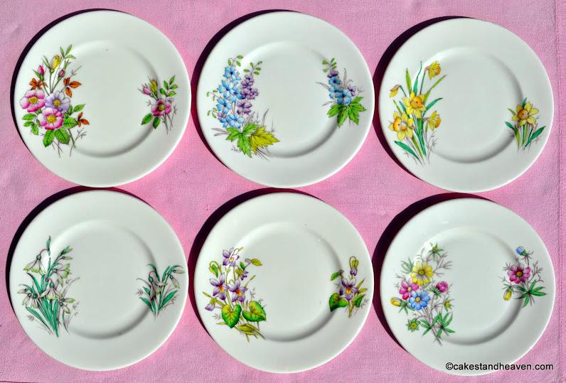 Six Royal Albert Flower of the Month Tea Plates