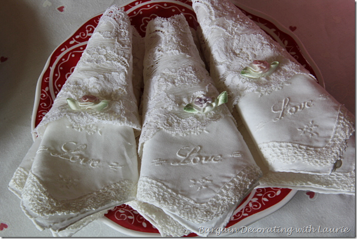 Hankies for Napkins on Valentine Table