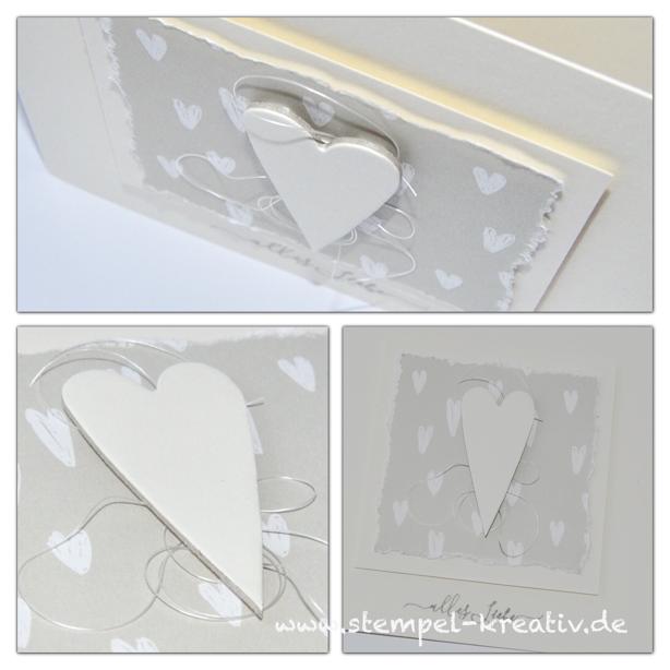 Glückwunschkarte zur Hochzeit Weiße Herzen