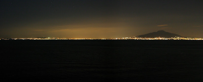 Mt. Vesuvius at night panorama
