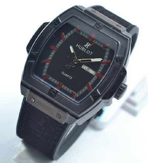 jam tangan HUBLOT date day black  rubber red