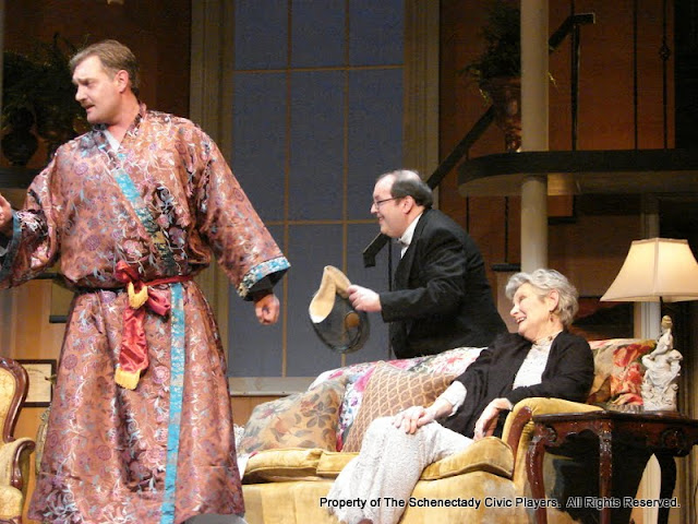 Randy McConnach, John Quinan and Joanne Westervelt in THE ROYAL FAMILY (R) - December 2011.  Property of The Schenectady Civic Players Theater Archive.