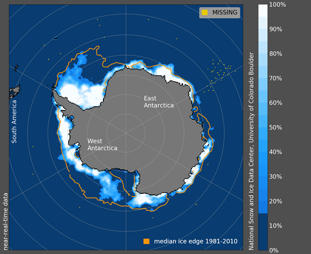 Antarctic sea ice concentration on 1 January 2019. The Ross Sea is on the lower edge of West Antarctica and Amundsen is north and near this map's West Antarctica labeling. Graphic: National Snow and Ice Data Center