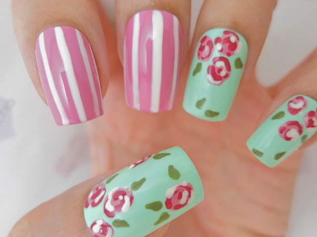 Green and Pink Floral Roses False Nails