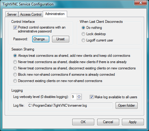 Screenshot of TightVNC v.2.7.10 Remote Desktop PC Software Free Download at Alldownloads4u.Com