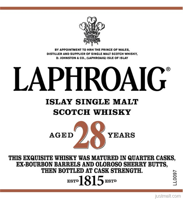 Laphroaig Islay Single Malt Scotch Whiskey 28-Year