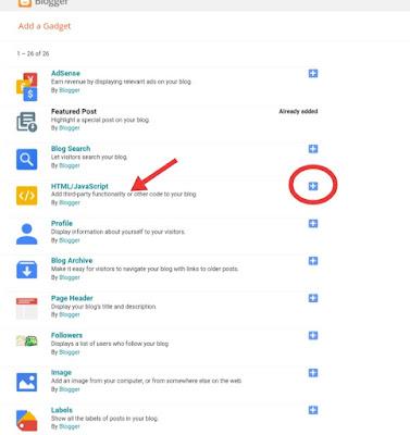 Blogger settings add HTML/JavaScript