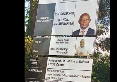 Photo of Nyeri governor billboard advertising pit latrine