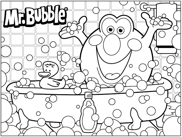 Mr Bubble Coloring Page Bath Time