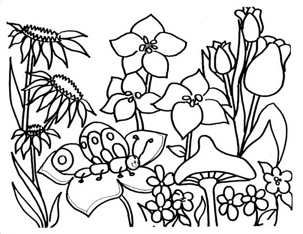 Flower Coloring Book Pages Free With Garden