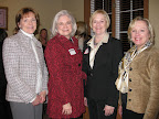 Meeting of the execs: Jeanne Odom, Northeast Tarrant Chi Omega Alumnae President; Shelley Potter, Chi Omega National Vice President; Susie Woodall, Kappa Alpha Theta Alumnae District President; and Joy Donovan Brandon, Mid-Cities Kappa Alpha Theta Alumnae President.