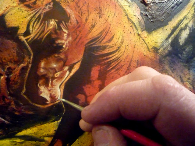 Bellerophon and Pegasus, painting in-progress by Jeff Lafferty
