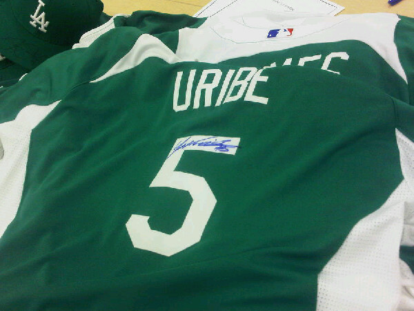The Dodgers wear green uniforms for St. Patty s Day. The boys 9f67bcc9730