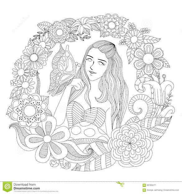 Pretty Girl Playing With Butterfly In The Flowers Garden Line Art For Coloring  Page For Adult