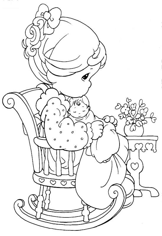 Pinto Dibujos: Mamá Precious Moments para colorear - día de las madres