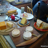 Getting ready to taste cheeses