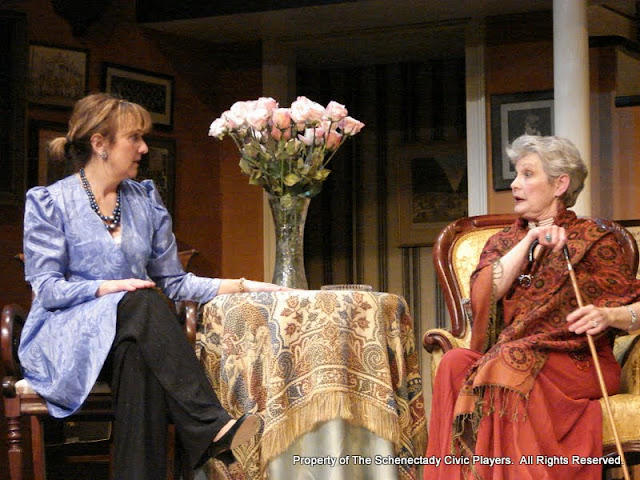 Benita Zahn and Joanne Westervelt in THE ROYAL FAMILY (R) - December 2011.  Property of The Schenectady Civic Players Theater Archive.