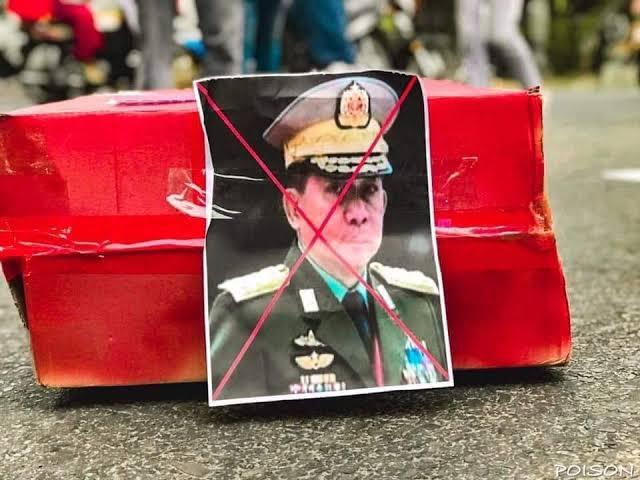 Pemimpin Junta Militer Myanmar Ulang Tahun, Rakyat Beri Kado Peti Mati