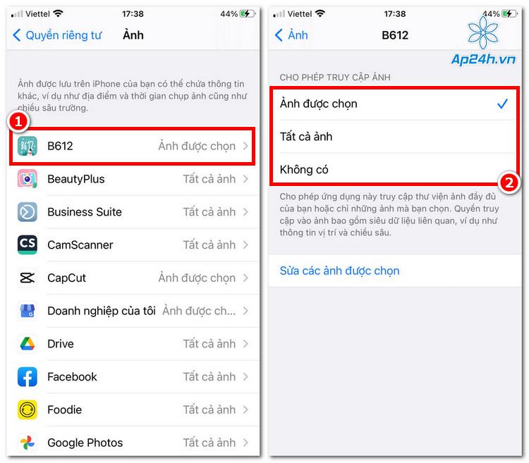 Bạn luôn có thể thay đổi quyền truy cập ảnh của ứng dụng