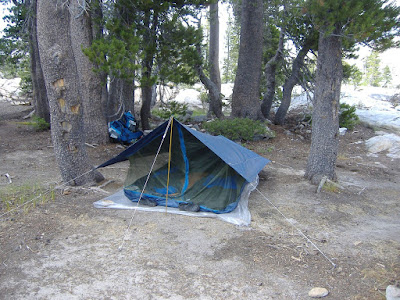 Our camp---and a few shots of the tent I designed and made. It weighs a little over three pounds, and is both water and insect proof!©http://backpackthesierra.com