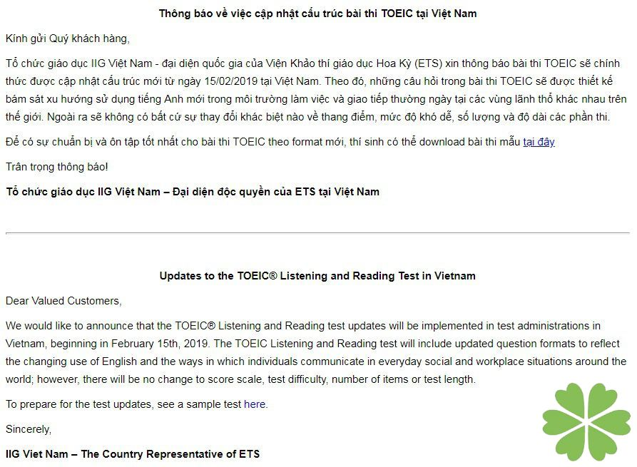 Thông báo về việc cập nhật cấu trúc bài thi TOEIC tại Việt Nam