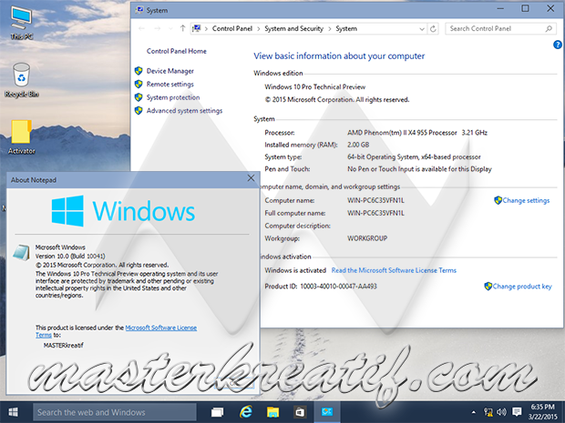 Windows 10 Build 10041 About