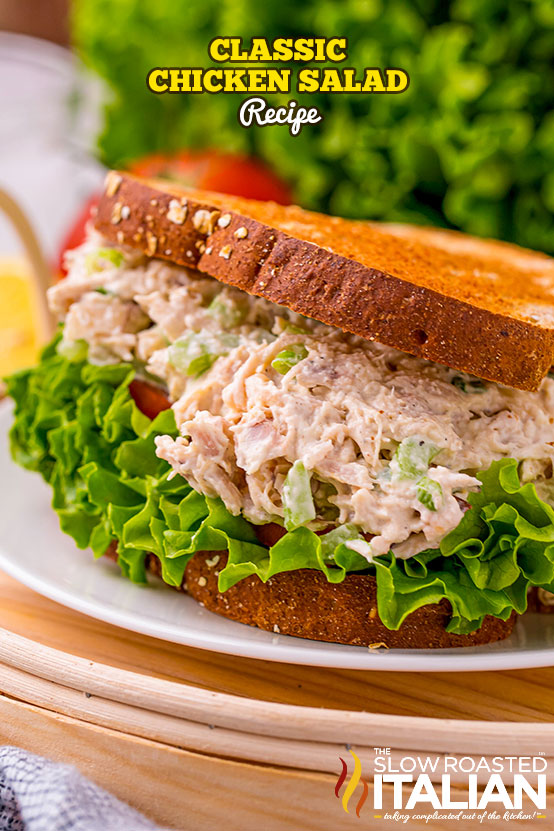 Classic Chicken Salad Recipe on a plate