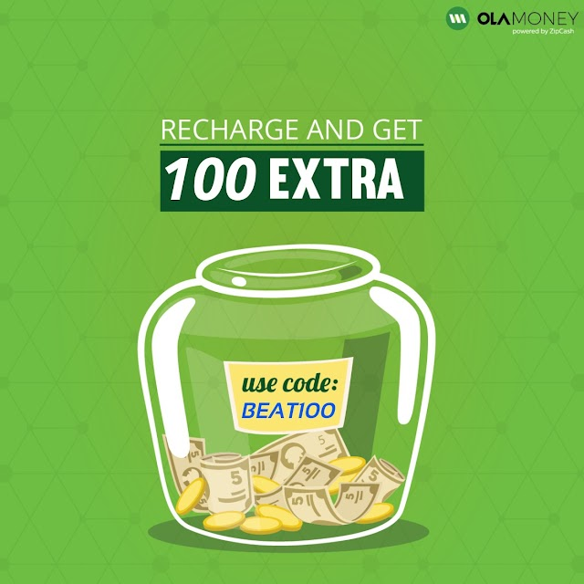 Ola money offer: Recharge for Rs. 999 or more and get Rs. 100 extra!