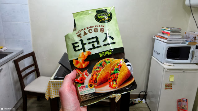 eating Mexican taco snacks at my apartment in Hongdae, Seoul in Seoul, Seoul Special City, South Korea