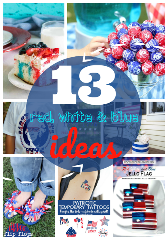 13 Red, White & Blue Ideas at GingerSnapCrafts.com #redwhiteblue #patriotic #4thofJuly