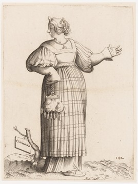 Germany women, fashion plate, circa 1550 - 70