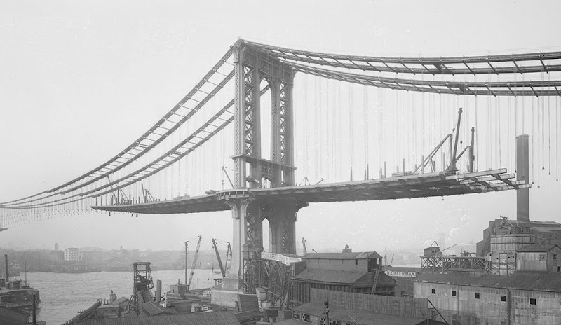 Under Construction Picture of The Brooklyn Bridge in 1882