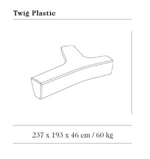 Technische tekening van de Twig Plastic zitbank uit de collectie van Escofet 1886