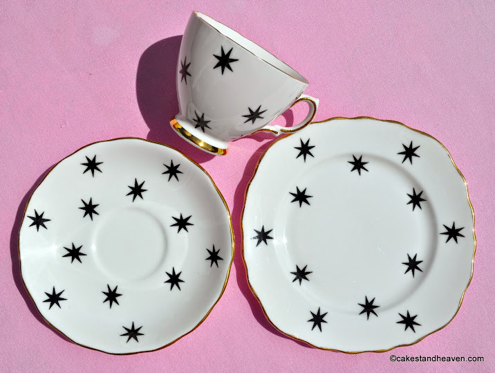 Black Star pattern teacup, saucer, tea plate trio