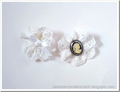 Two broaches made from scraps of pretty lace.  One has a bow and pearl center, the other has a cameo.