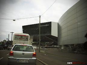 First glance of the amazing Porsche Museum Stuttgart glass building.