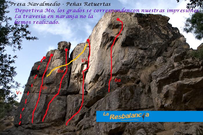 20120819 - Una mañana de escalada en Peñas Retuertas, presa de Navalmedio Croquis