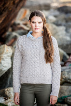 Photo: Women's Heavyweight Traditional Aran Wool Sweater - one of our most popular and traditional designs. It incorporates a selection of the most commonly used Aran stitches, the Honeycomb and Cable stitch, each thought to act as a talisman, bringing luck and protection to the wearer.  This traditional design is made with 3 ends of wool for extra thickness and warmth, making it the perfect garment for outdoor activities or just cosying up at home!  www.aransweatermarket.com/c311ladies